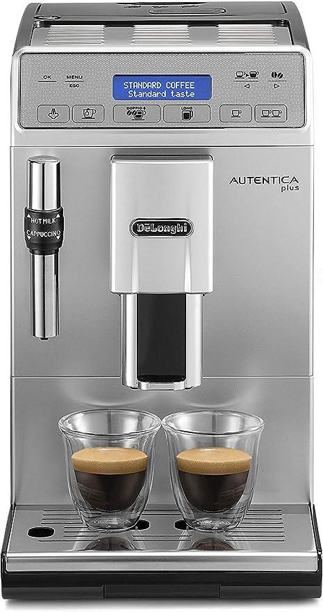 DeLonghi Autentica Plus - Cafetera Superautomática Espresso y Cappuccino, Depósito de Agua 1.4 l, Pantalla LCD y Panel Táctil, Acero Inoxidable, Molinillo Silencioso, 1450 W, ETAM 29.620.SB, Plata: Amazon.es: Hogar