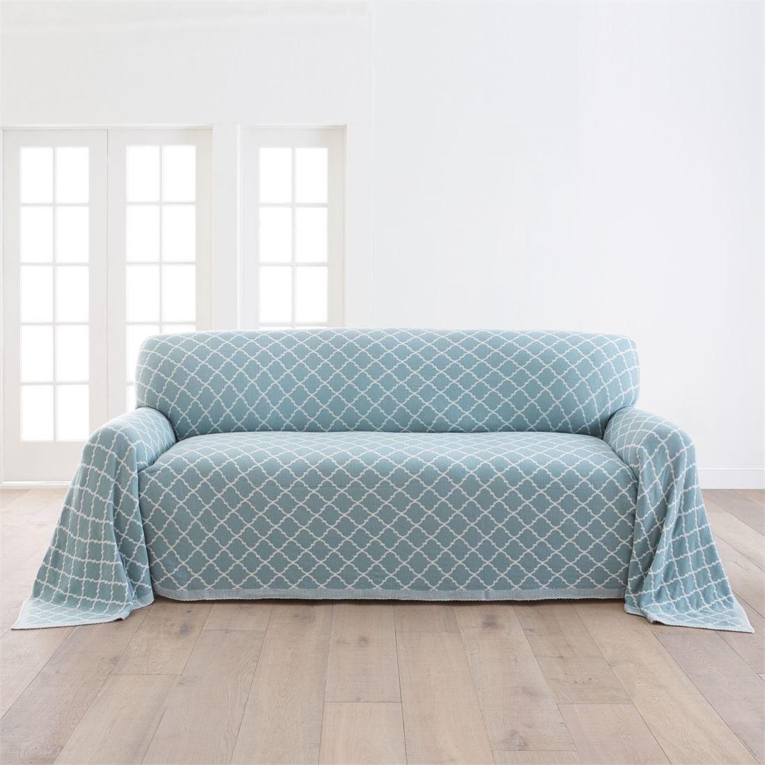 BrylaneHome Ogee Knitted Sofa Cover (Spa,0)