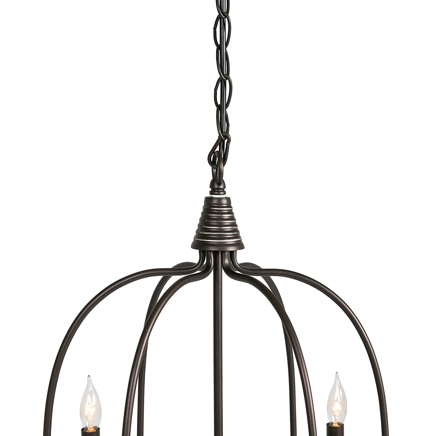 Best Choice Products 25in 6-Light Candle Chandelier Hanging Lighting Fixture for Living Room, Kitchen, Foyer w 41in Chain – Bronze