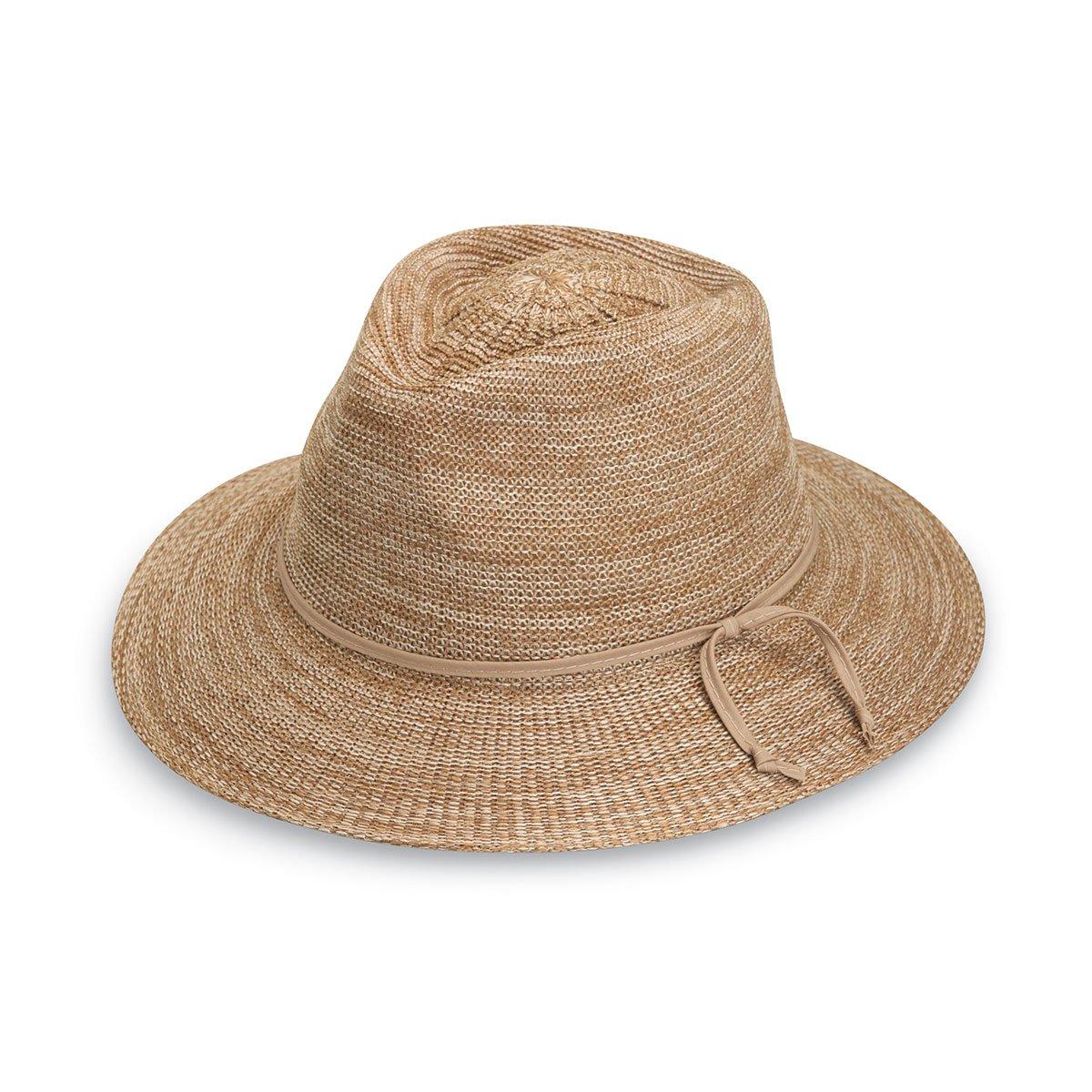Wallaroo Hat Company Women's Victoria Fedora Sun Hat - 100% Poly-Straw - UPF50+ Mixed Camel