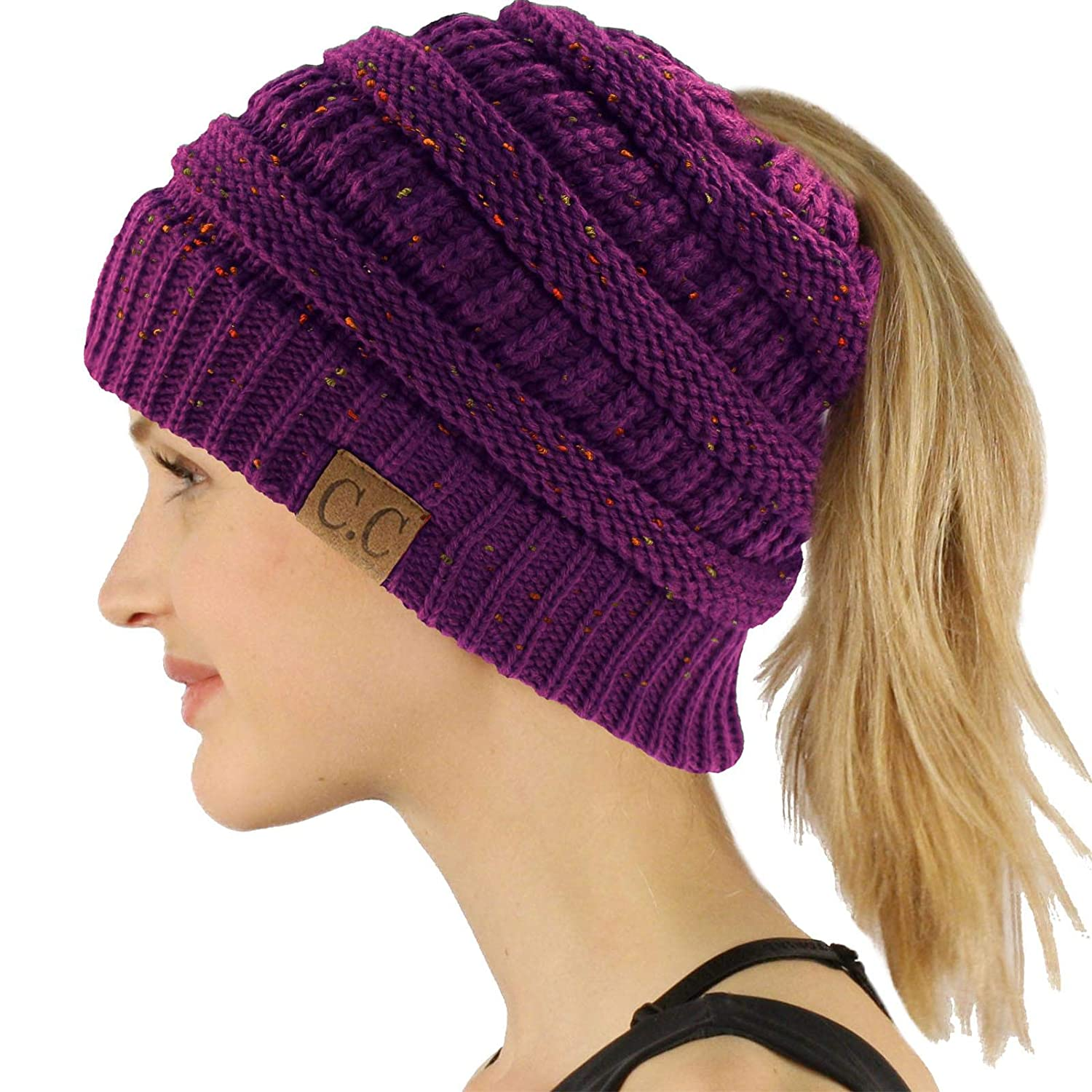 Confetti Purple Ponytail Messy Bun BeanieTail Soft Winter Knit Stretchy Beanie Hat Cap