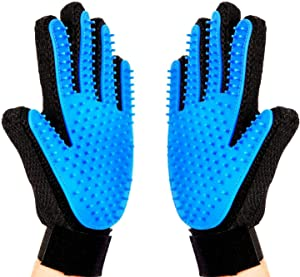 Pet Grooming Glove, Pet Ninja Glove, Amazingly cat glove, Gentle Deshedding Brush Glove - Efficient Pet Hair Remover Mitt - Enhanced Five Finger Design - Perfect for Dog & Cat - 1 Pair (Sky Blue)