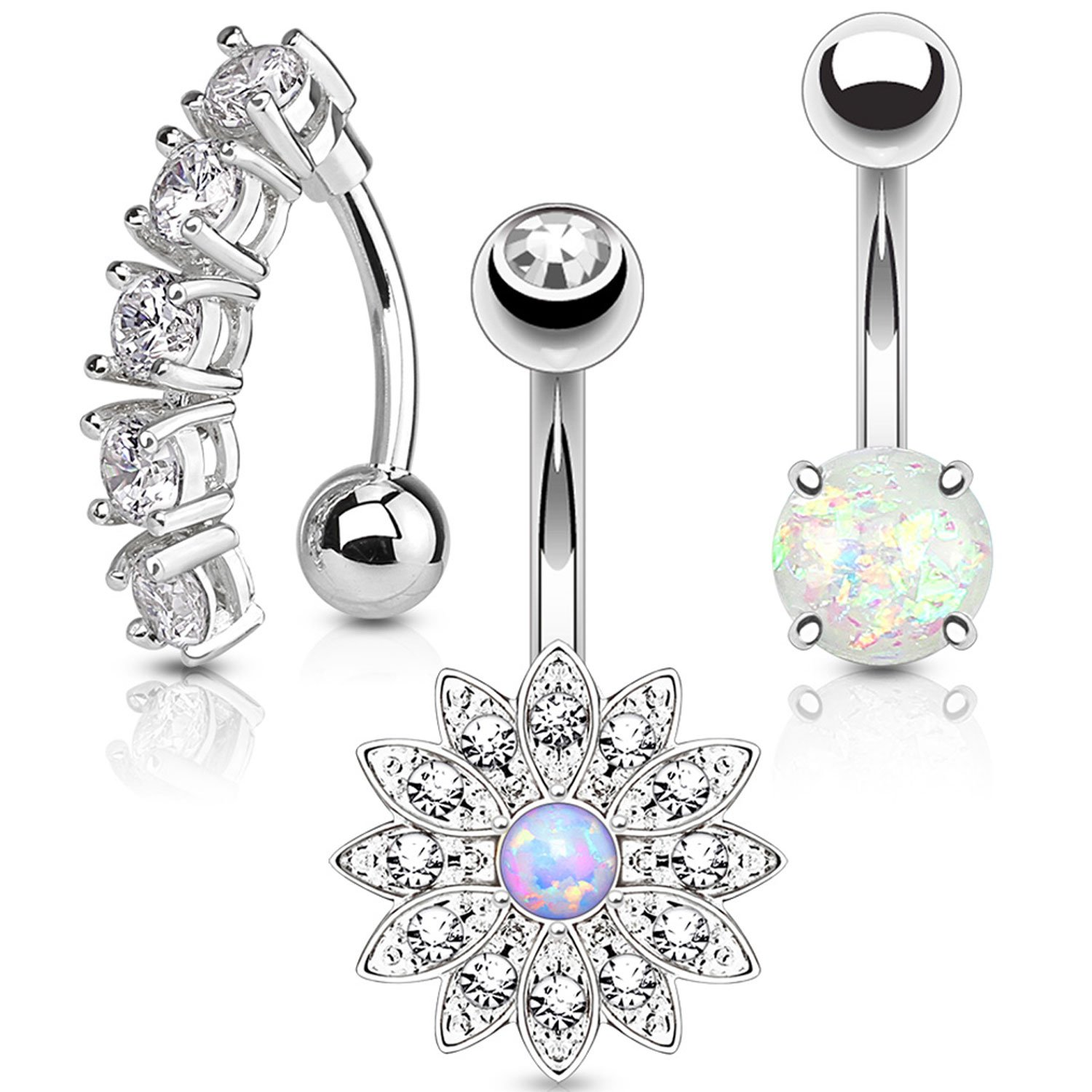 BodyJ4You 3PC Belly Button Rings Set 14G Crystal Flower Silvertone Stainless Steel Curved Navel Barbell