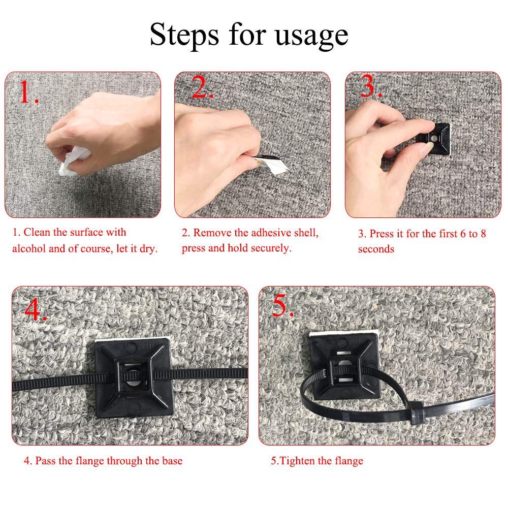HO2NLE 200pcs Serre Cable Plastique Zip Tie Embases Adhesive pour Attache de Cable Nylon Collier de Serrage Plastique pour Bureau Jardin Voiture 28 mm x 28 mm