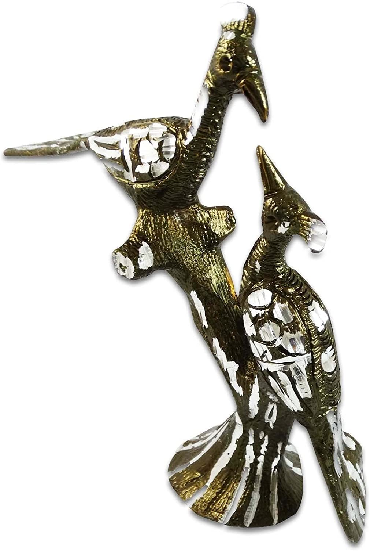 エスニックインドのホームデコレーションPeacock Statueテーブルトップアルミニウム置物鳥