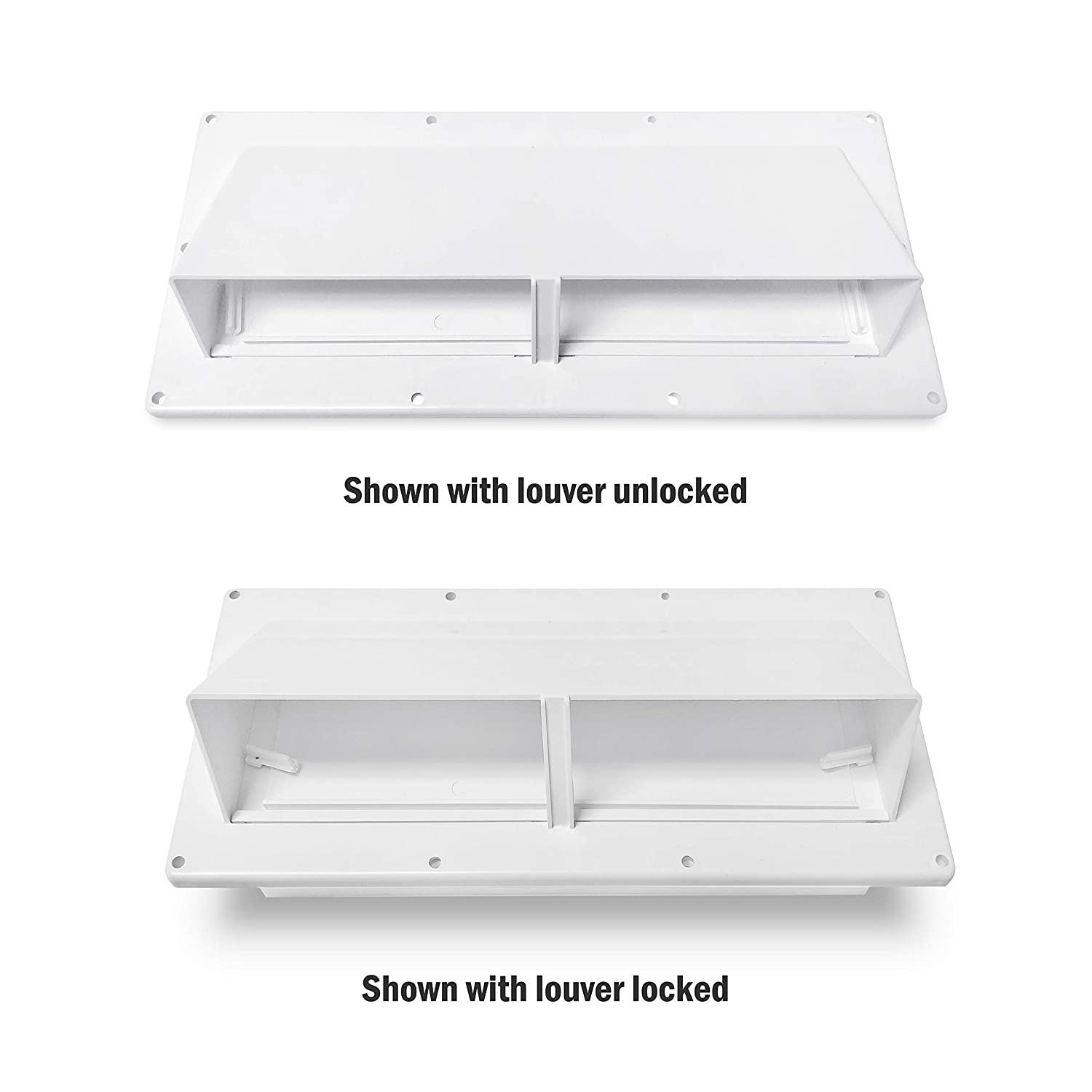 Polar White Kohree RV Exhaust Vent Cover with Locking Damper RV Range Hood Vent Mobile Home Parts for Motorhome Trailer