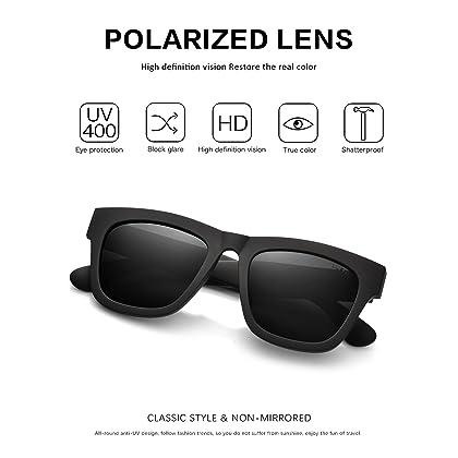 6fba0a02fb ... LUENX Wayfarer Polarized Sunglasses Classic Men UV 400 Protection Matte  Black 58MM with Case ...