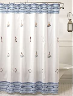 LORRAINE HOME FASHIONS Annapolis Shower Curtain 70 By 72 Inch Blue
