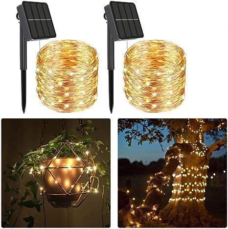 2 juegos de luces solares de cuerda al aire libre (240LED,79 pies)Luces de jardín solares de had...