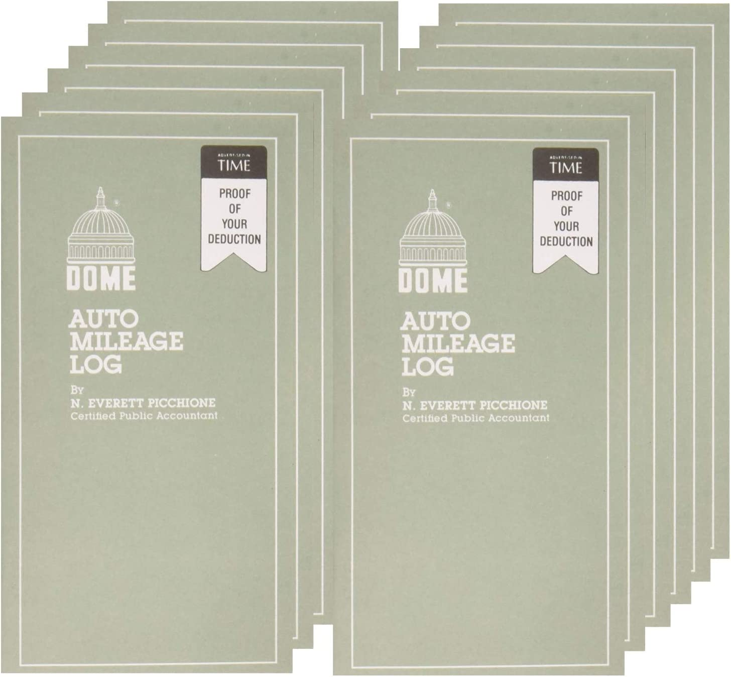 Undated Auto Mileage Log 12 PACK 3 1//4 x 6 1//4-32 Forms