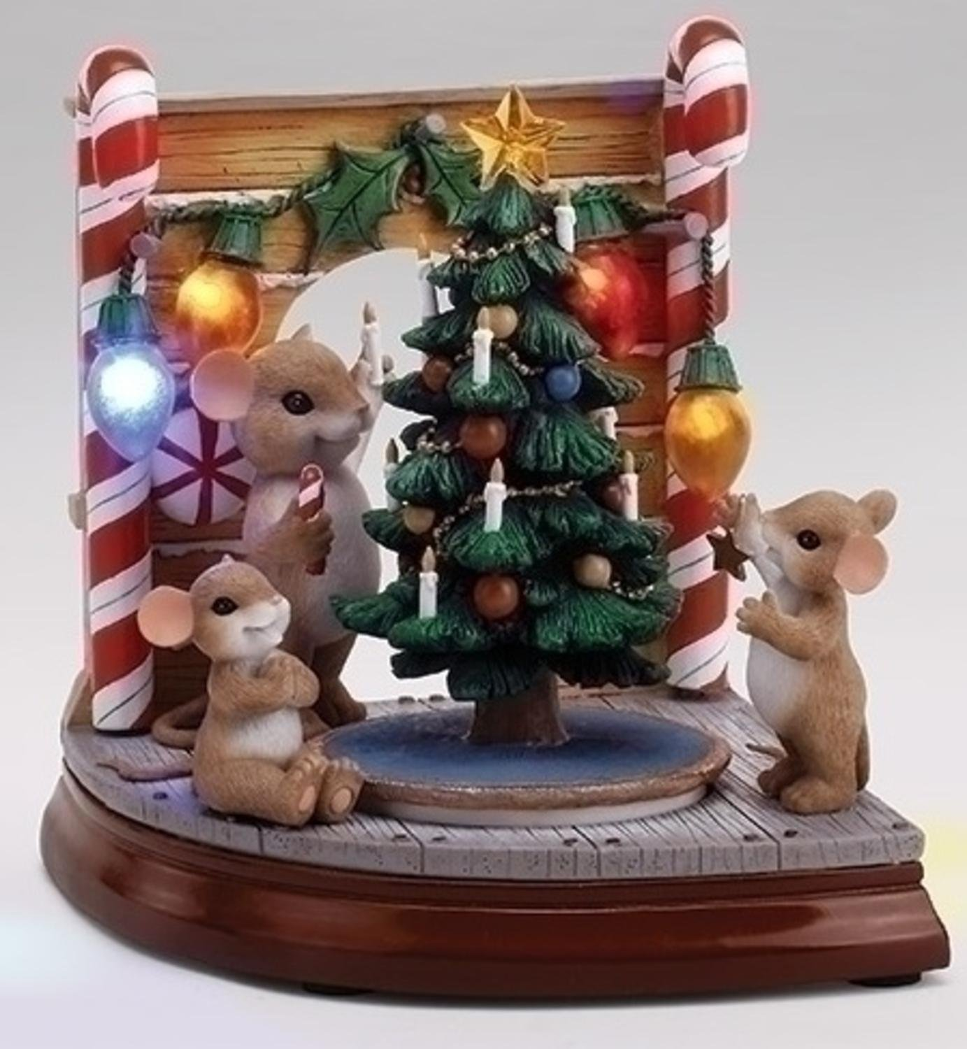 "Roman 7.25"" LED Lighted Musical Rotating ""Charming Tails"" Mouse Hole Scene with Christmas Tree"