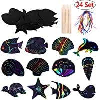 Scratch Art Card, Scoolr 24pcs Sea World Theme Scratch Art Paper for Kids DIY Birthday Party Supplies Favor Rainbow Scratch Paper Magic Scratch Art Notes Paper Boards with Wooden Sticks and Ribbon