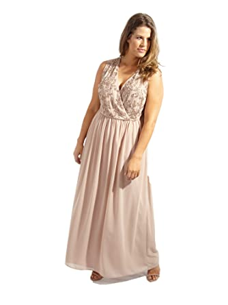 1a1b9b081a016e Lovedrobe Luxe Mink Wrap Maxi Embellished Dress - Plus Size Ladies Clothing  in Sizes 16-30  Lovedrobe  Amazon.co.uk  Clothing