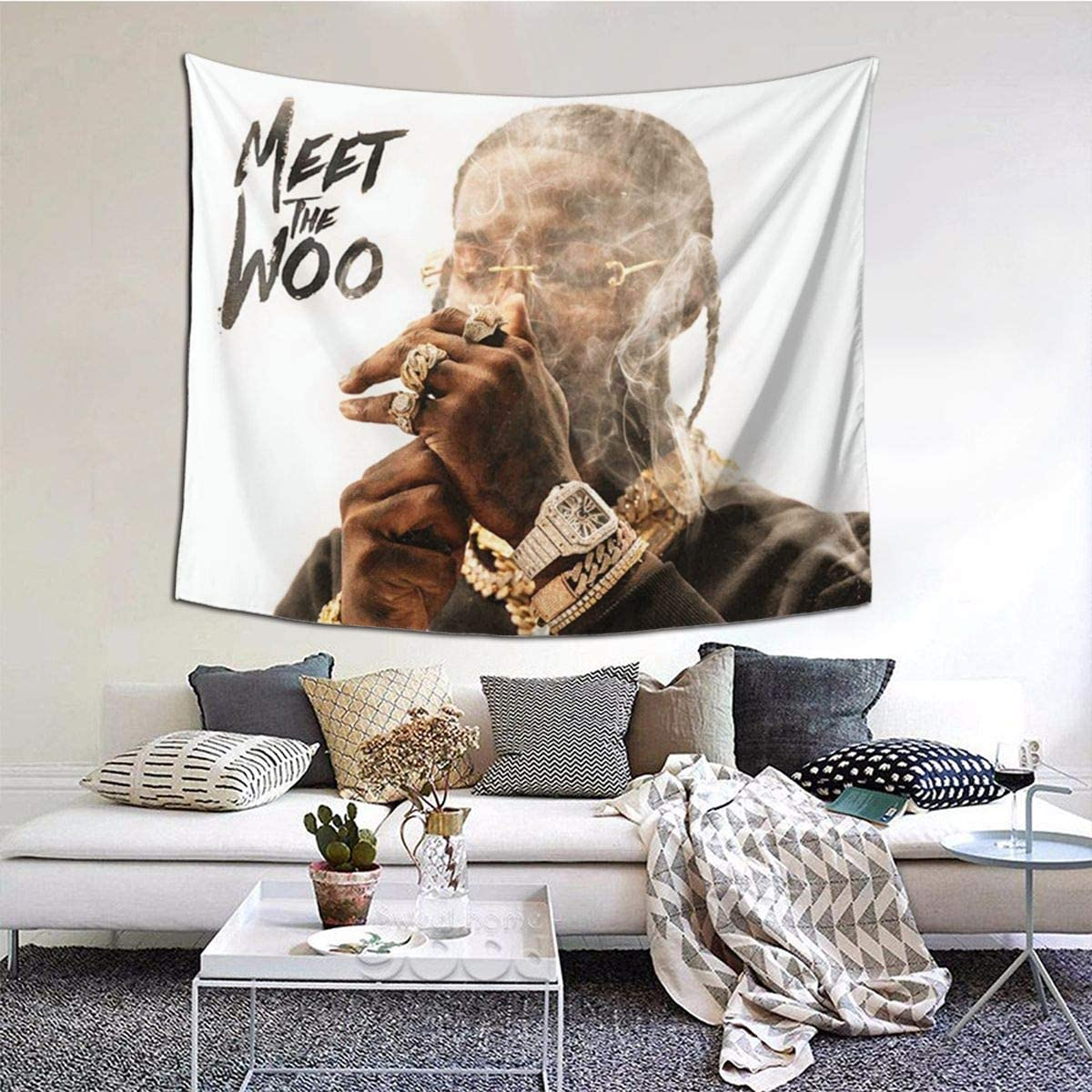 KINGN Pop-Smoke Tapestry Soft Wall Hanging Rapper Tapestry ,For Living Room Bedroom Home Decor 60x51in