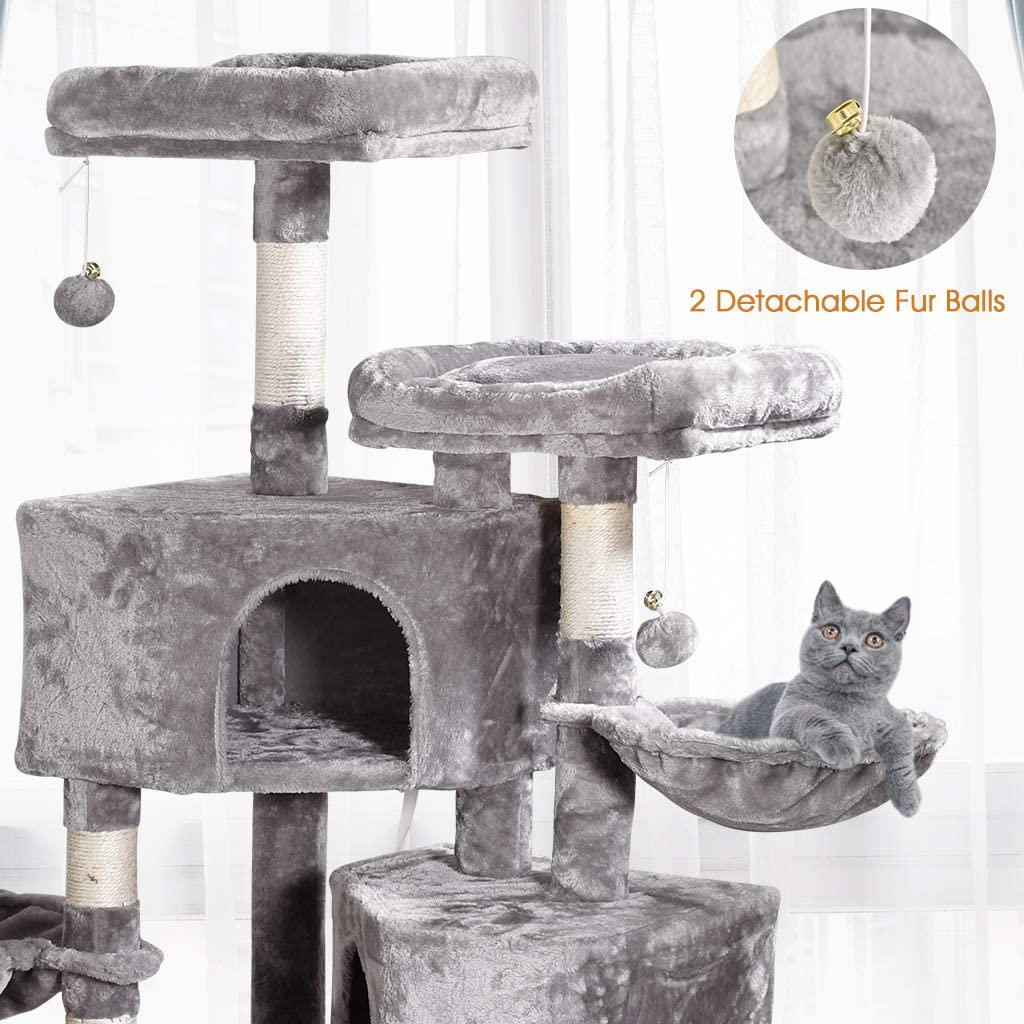 Multi-Level Cat Tree, MQ Cat Tower 57'' with Sisal-Covered Scratching Posts Cat Activity Center Play Furniture, Dual Plush Perch, Dual Cat House Condo & Basket, Removable Hammock for Kittens Large Cat : Pet Supplies