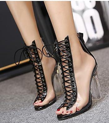 Aisun Damen Sexy High TopTransparent Schnürung Cut Out Peep-Toe Sandalen mit Reißverschluss Aprikosenfarben 40 39xwxVl33