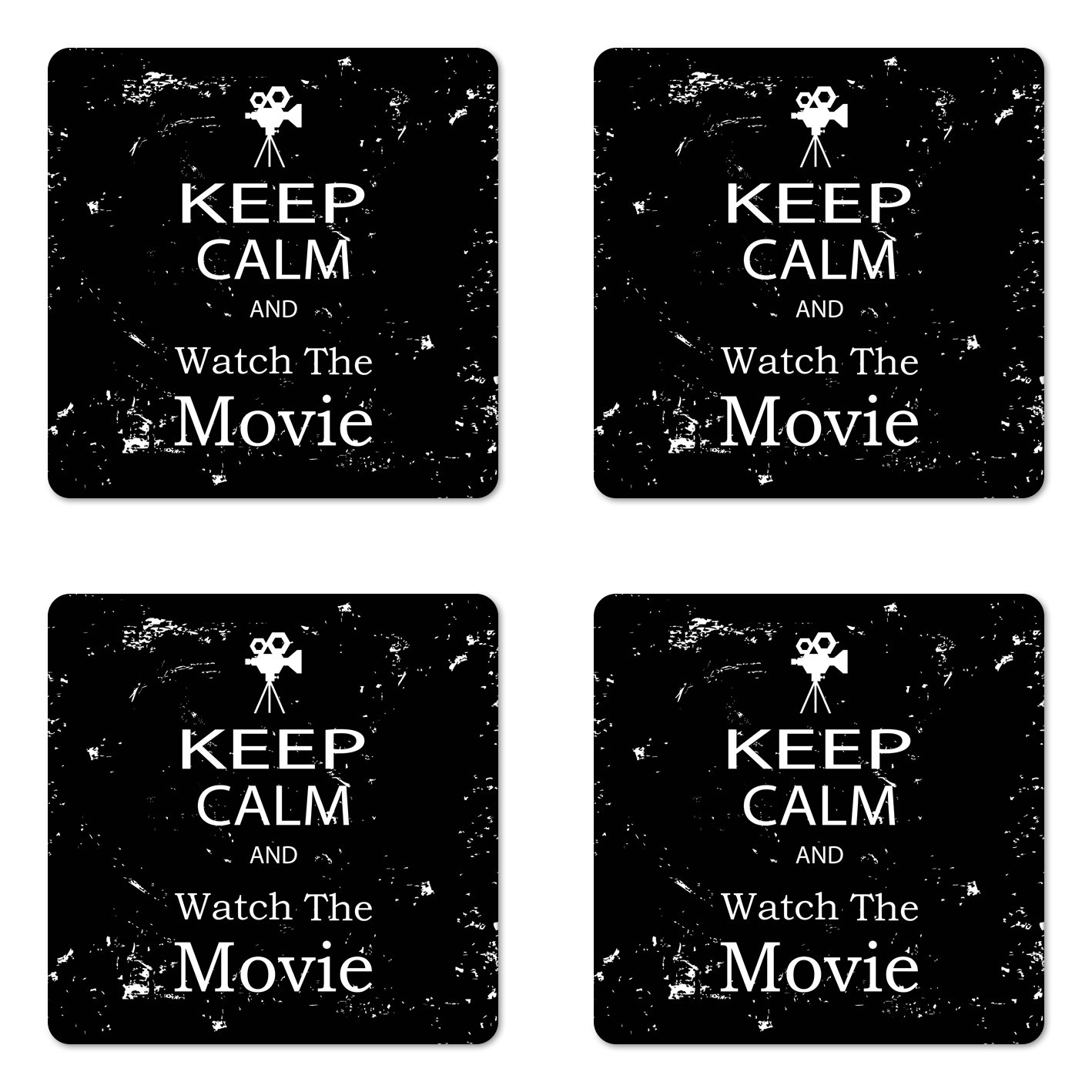 Ambesonne Keep Calm Coaster Set of Four, Watch the Movie Quote for Film Buffs Grungy Weathered Backdrop with Old Camera, Square Hardboard Gloss Coasters for Drinks, Black White
