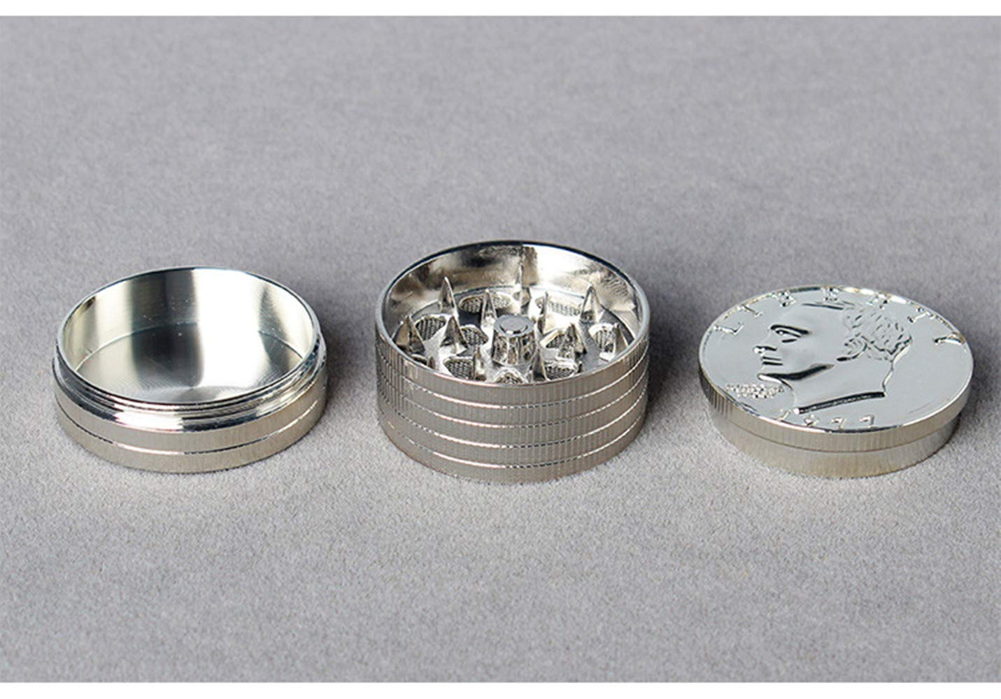 tobacco spice crusher NEW SILVER COIN SHAPED TWISTING METAL HAND GRINDER herbs