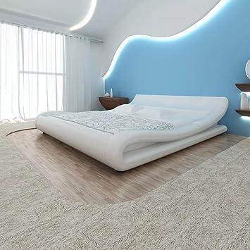 WEILANDEAL Cama y colchon viscoelastico Cuero artif. 180x200 Curva Blanca Camas Altura de los Lados: 18,5-26 cm: Amazon.es: Hogar