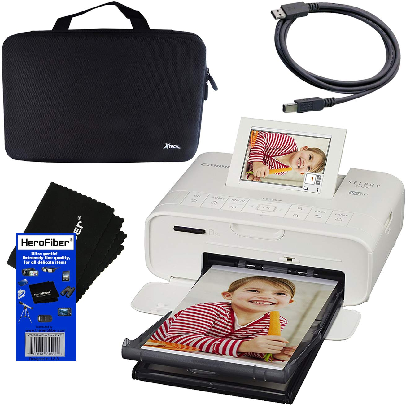 Canon SELPHY CP1300 Wireless Compact Photo Printer (White) + Xtech Custom Hard Compact Case + USB Printer Cable + HeroFiber Cleaning Cloth by HeroFiber