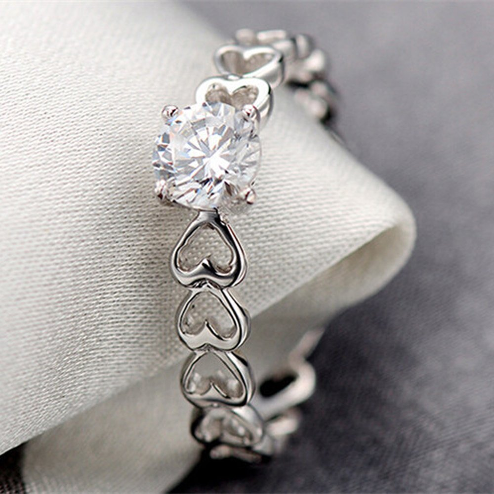 FT-Ring Fashion White Heart Rings Silver Color Rings Jewelry For Women Engagement Wedding Rings