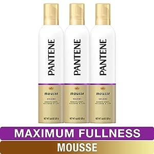 Pantene Body Boosting Mousse, Pro-V Maximum Fullness, 6.6 Ounce, Pack of 3