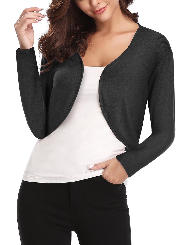 Black Abollria Women's Long Sleeve Shrug Bolero Open Front Cardigan