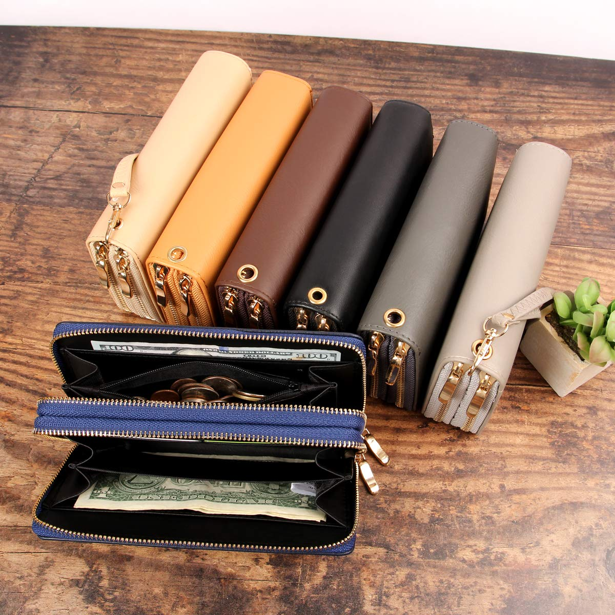 Classic Zip Around Wallet - PU Leather Double Zipper Clutch Purse with Card & Phone Slots, Removable Wristlet Strap (Sand) by MYS Collection (Image #3)