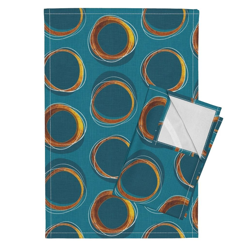 Roostery Solar Tea Towels Eclipse Mid Century Gold Circles Mia by Mia Valdez Set of 2 Linen Cotton Tea Towels by Roostery (Image #1)