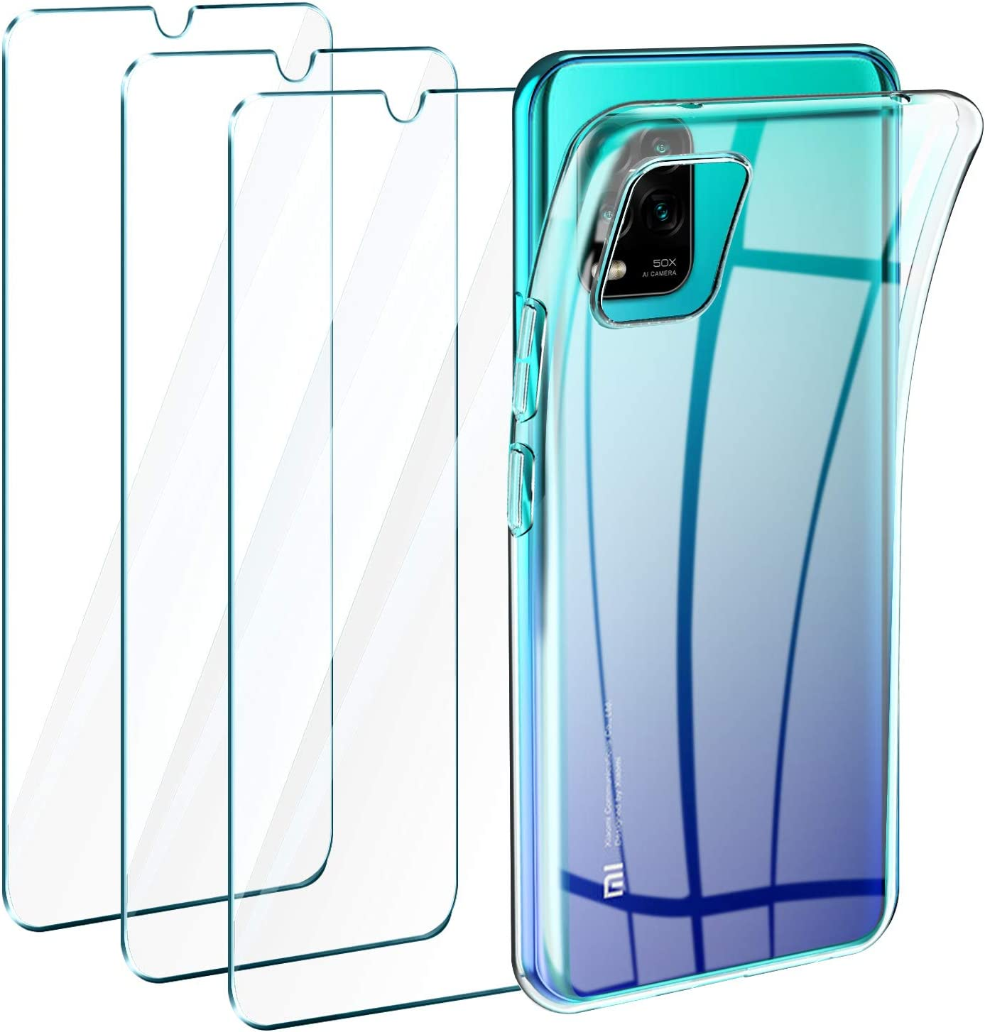 Leathlux Funda Xiaomi Mi 10 Lite 5G + 3 x Protector de Pantalla Xiaomi Mi 10 Lite 5G, Transparente TPU Silicona Funda + Cristal Vidrio Templado Protector de Pantalla y Carcasa Xiaomi Mi 10 Lite 6.57