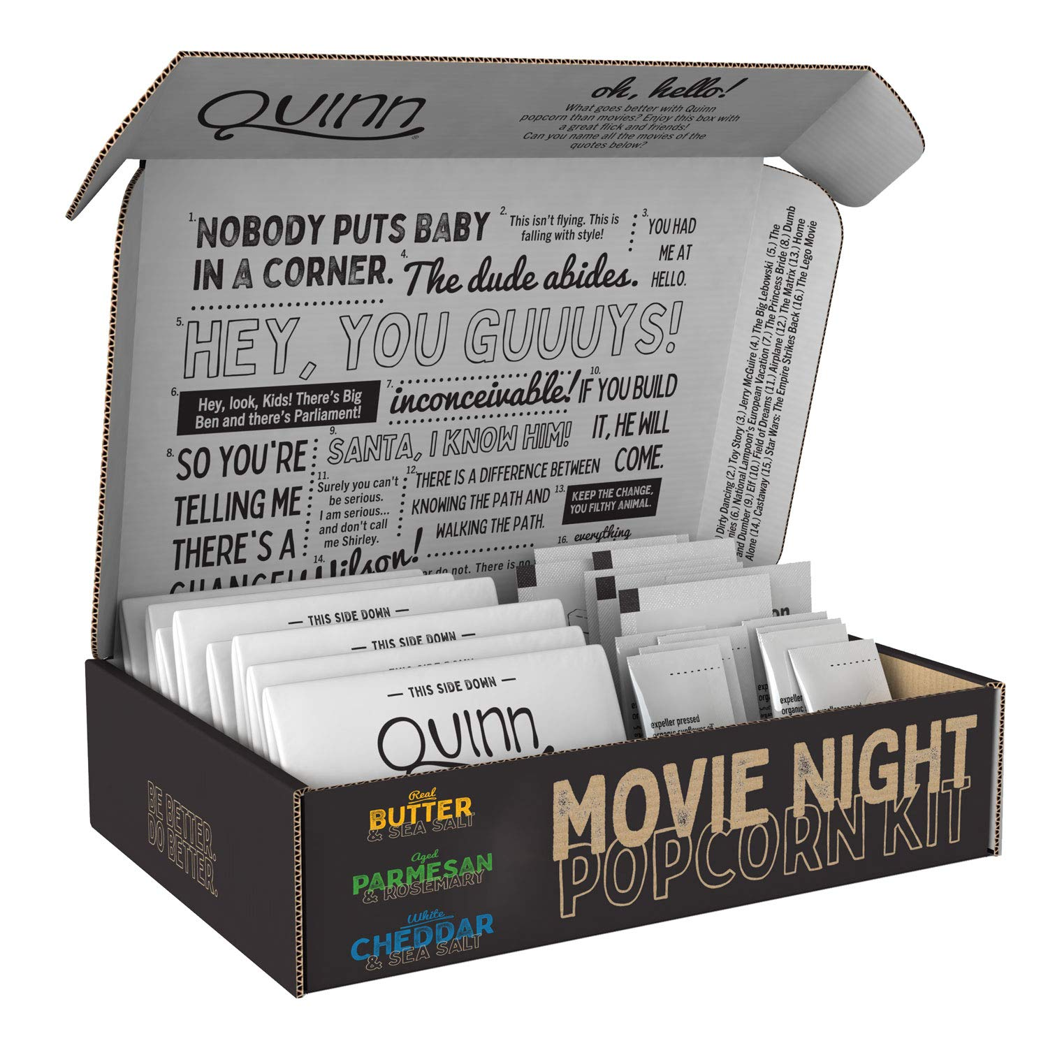 Quinn Movie Night Microwave Popcorn Variety Pack (3 Bags Butter, 3 Bags Parmesan Rosemary, 3 Cheddar), 9 Bags Total