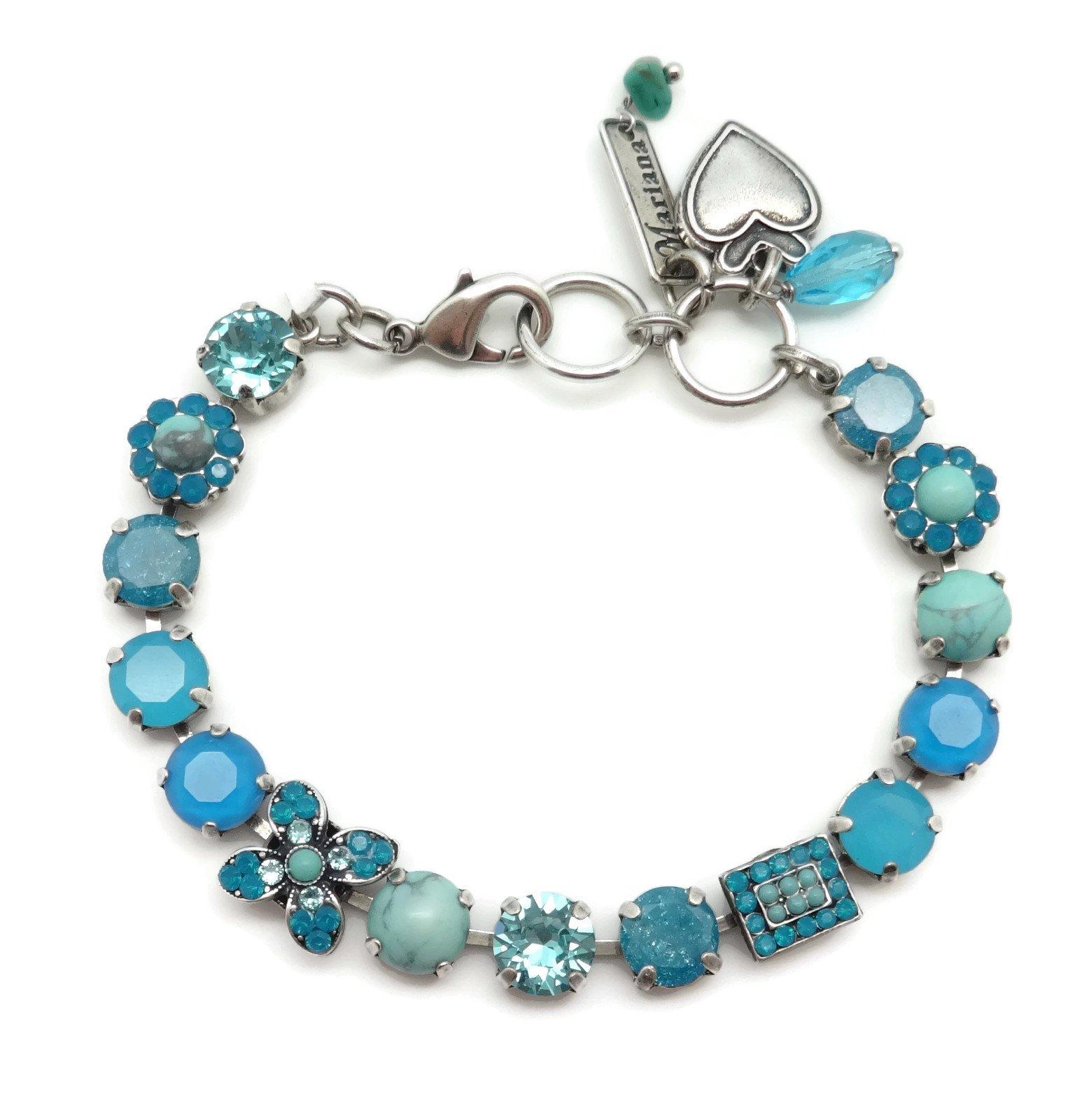Marinaa Silver Plated Swarovski Crystal Bracelet Aqua Mix Floral Mosaic M1082 Zambezi
