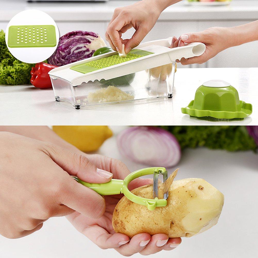 Mandoline Slicer and Dicer Kitchen Vegetable Slicer with 5 Interchangeable Stainless Steel Blades Food Fruit Julienne Slicer Cutter Chopper Dishwasher Safe by Mandoline Slicer (Image #3)