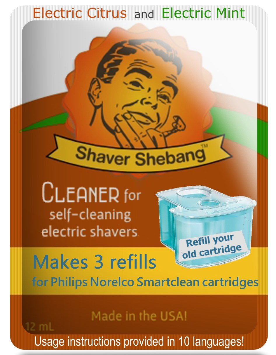 Philips Norelco SmartClean Citrus & Mint, 6 cartridge refills=2 pack Shaver Shebang