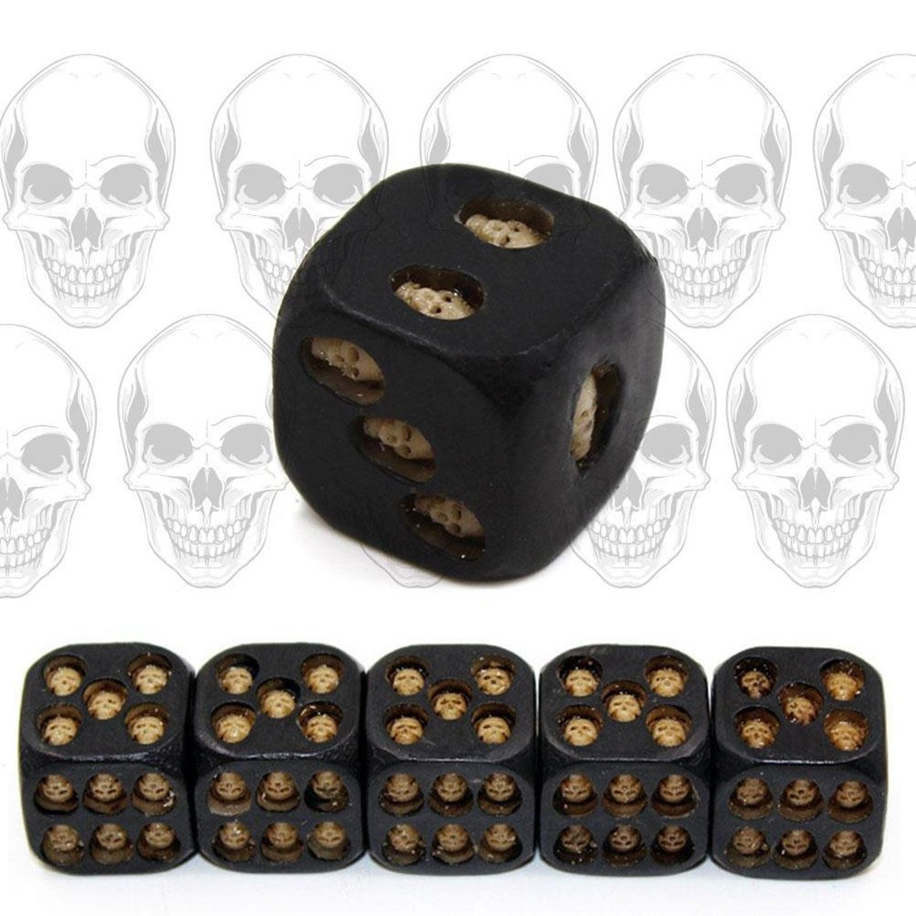 RICK-LIKE 5pcs//set Black Mini Death Skull Dice for Party Playing Drinking Death Table Game Party Tool
