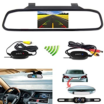 Podofo wireless car backup camera with 43 tft lcd rearview podofo wireless car backup camera with 43quot tft lcd rearview mirror monitor reverse camera asfbconference2016 Image collections