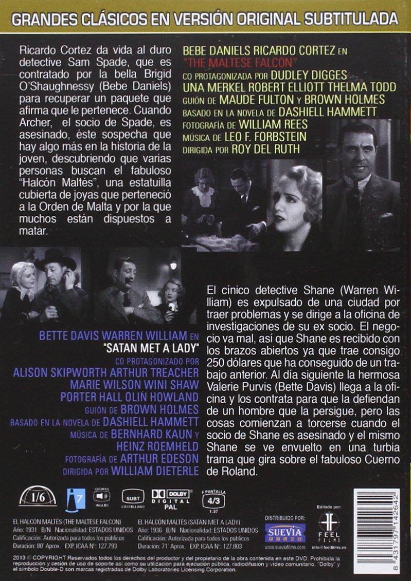 Amazon.com: El Halcón Maltés 1931 & 1936 Clásicos En V.O.S. (Import Movie) (European Format - Zone 2) (2013) Bebe Danie: Movies & TV