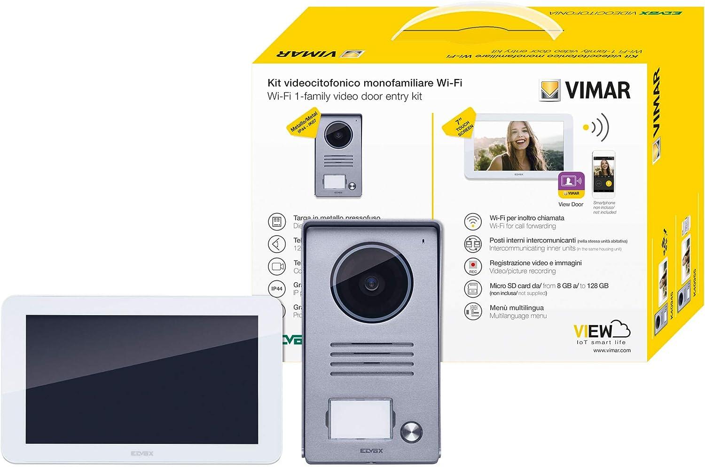pose en saillie Vimar K40945 Kit visiophone avec 1 interphone vid/éo WiFi mains-libres /à /écran tactile plaque de rue alimentation avec fiches interchangeables