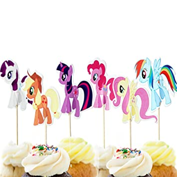 Jinhuamike My Little Pony Cupcake Toppers Picks Kids Baby Shower Birthday Party Cake Decoration Supplies Set