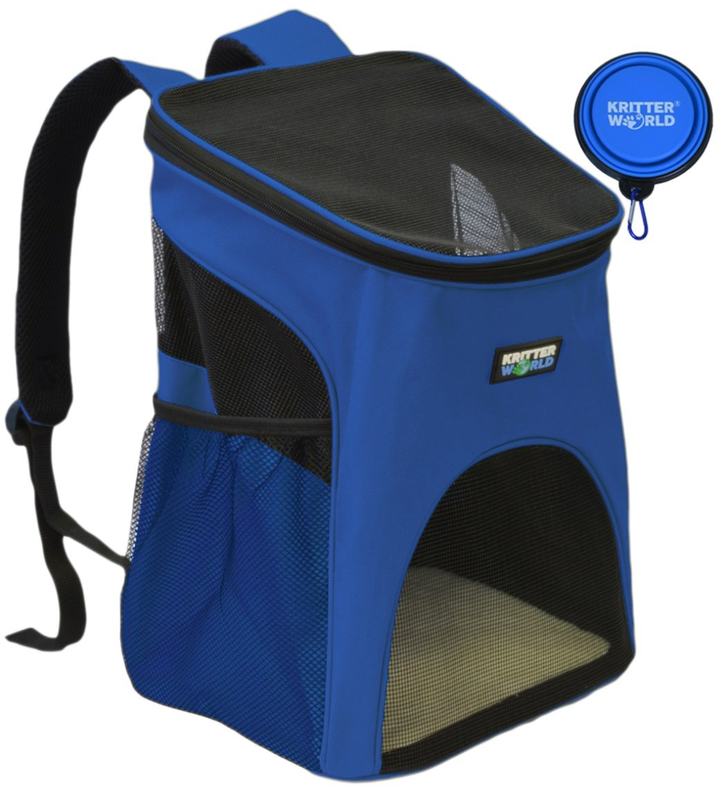 KritterWorld Pet Carrier Backpack for Small Dogs, Puppies, Cats, Kittens Up to 7lbs, Free Collapsible Dog Bowl Included, Comfort Mesh Pup Pack Great for A Walk, Travel, Hiking and Cycling, Blue