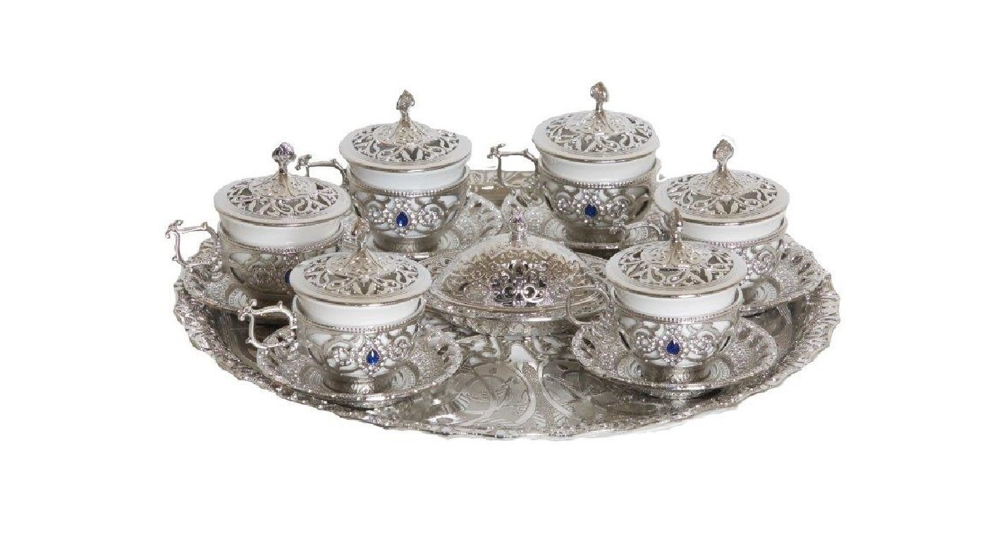 26 Piece Traditional Turkish Style Gawa Coffee Serving Set with Colored Stone Insets (Silver)