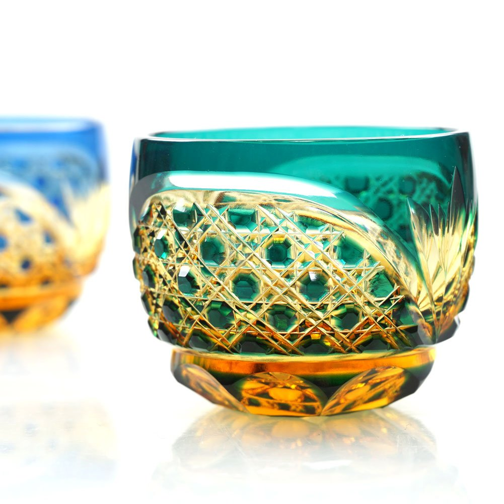 Crystal Sake Cup Edo Kiriko Guinomi Cut Glass Octagon Hakkaku-Kagome Pattern - Green x Amber [Japanese Crafts Sakura] by Japanese Crafts Sakura (Image #7)