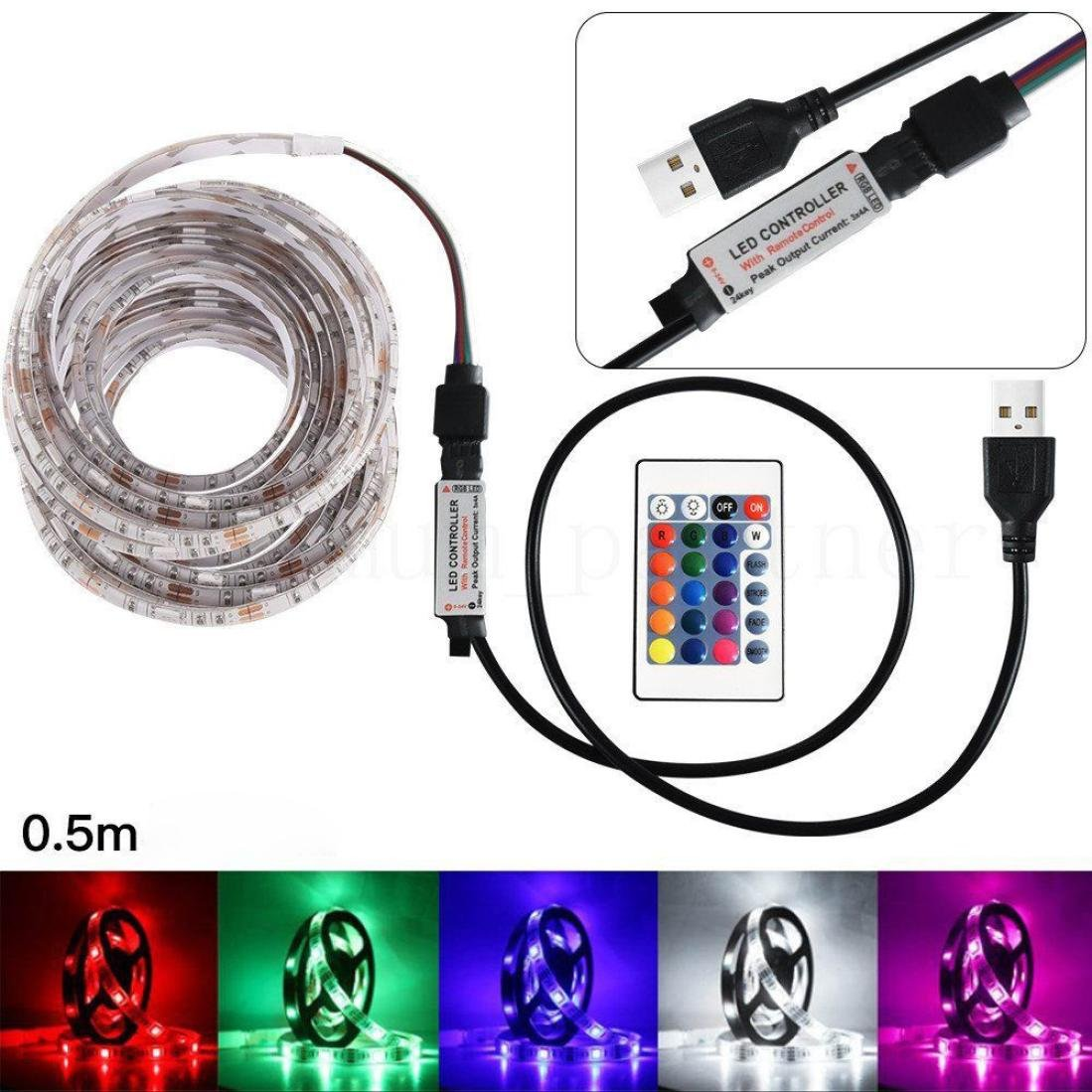 oldeagle Strip Light, 5V 50-200CM USB LED Strip Light TV Back Lamp 5050RGB Colour Changing+Remote Control (A)