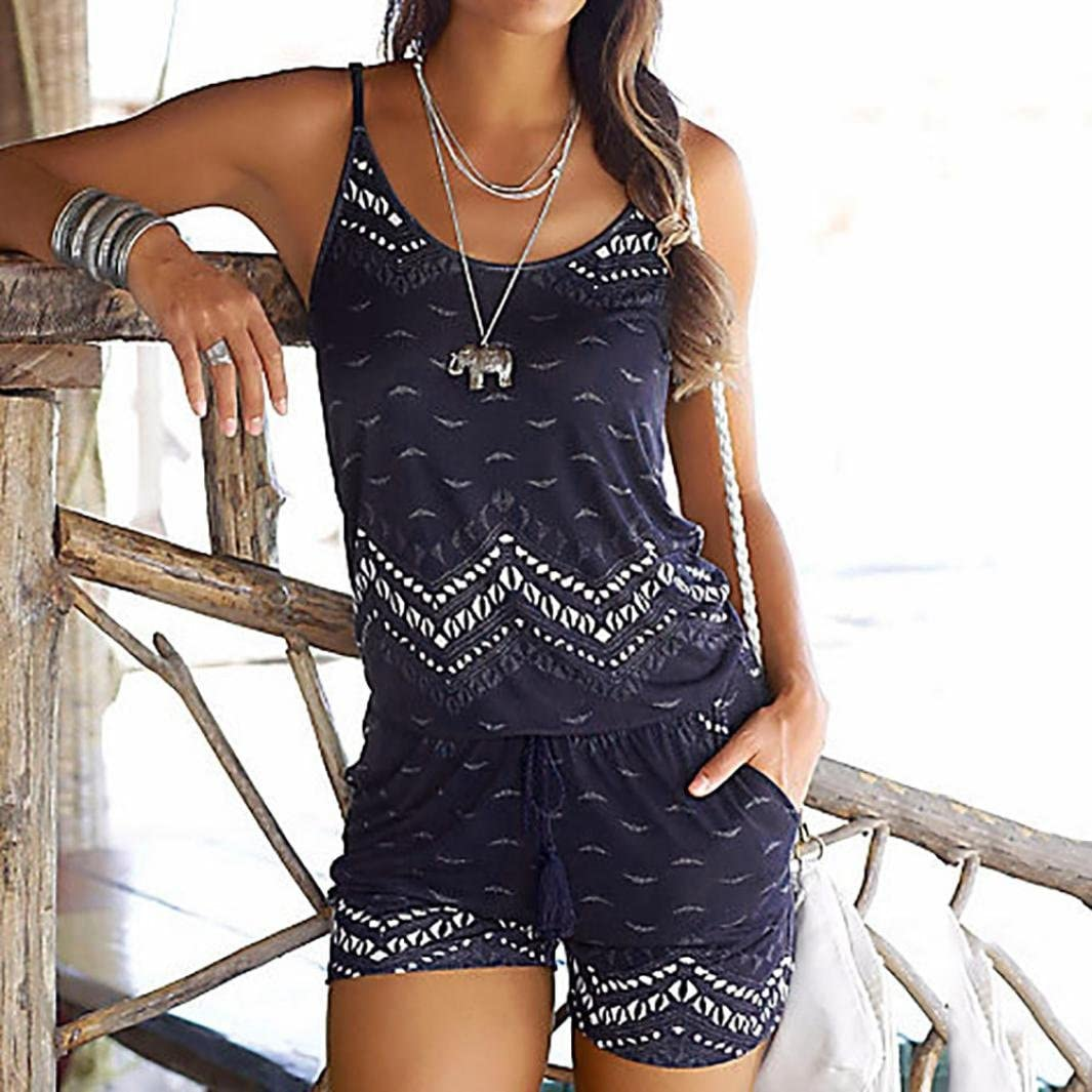 Womens Short Sleeve Holiday Mini Playsuit Ladies Summer Beach Shorts Jumpsuit