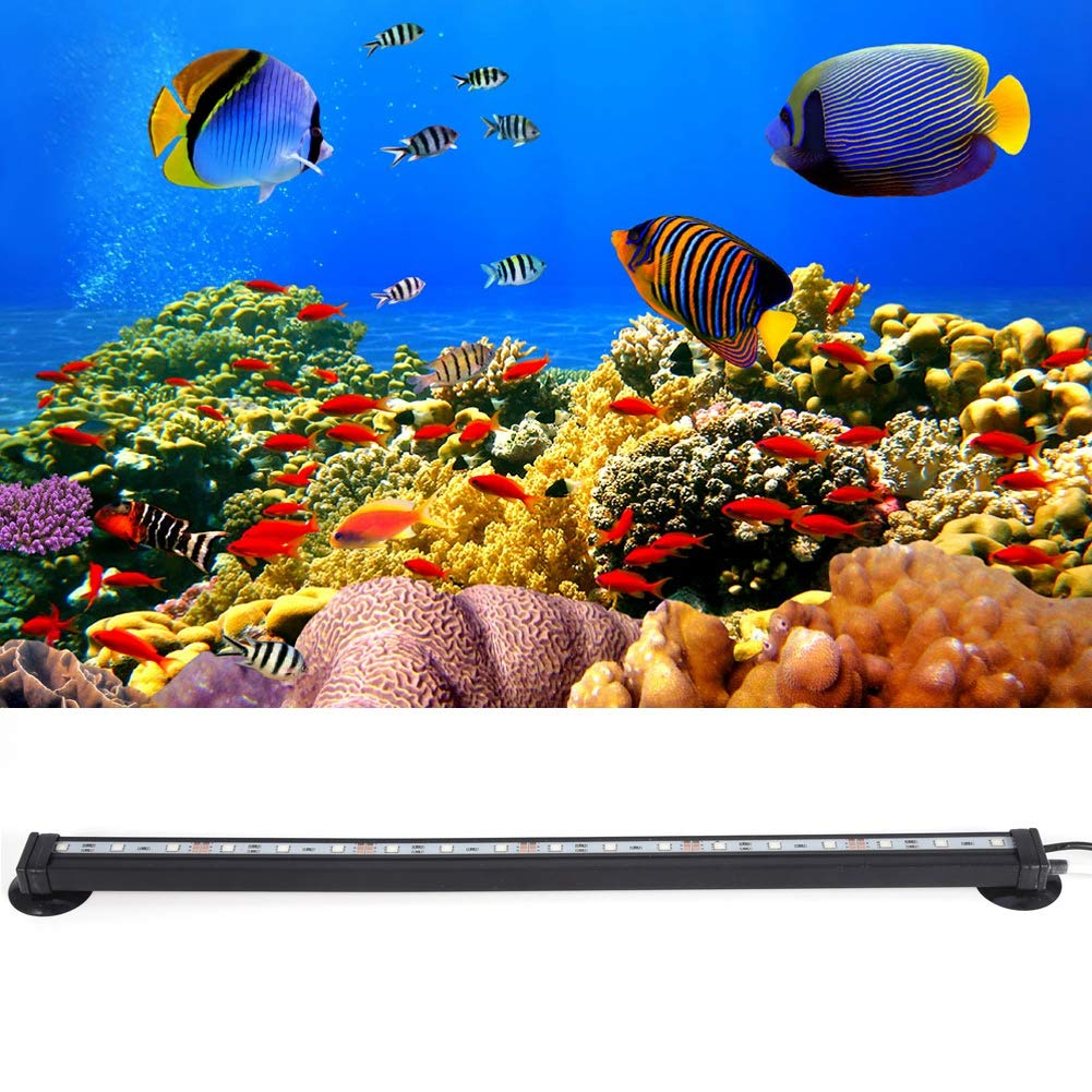 46cm Pssopp Illuminazione per Acquario Impermeabile per Acquario per Acqua salata e dAcqua Dolce Lampada sommergibile 46CM 5050 RGB LED Telecomando per Acquario Leggero