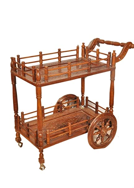 tayyaba enterprises Wooden Service Trolley (Brown, Free Size)