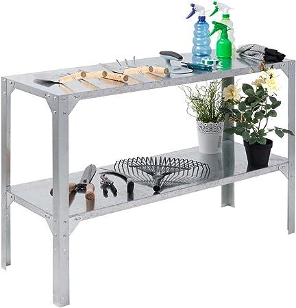 Banco de trabajo de acero galvanizado preparar de efecto invernadero estantes de almacenamiento de mesa de trabajo para jardinería: Amazon.es: Hogar
