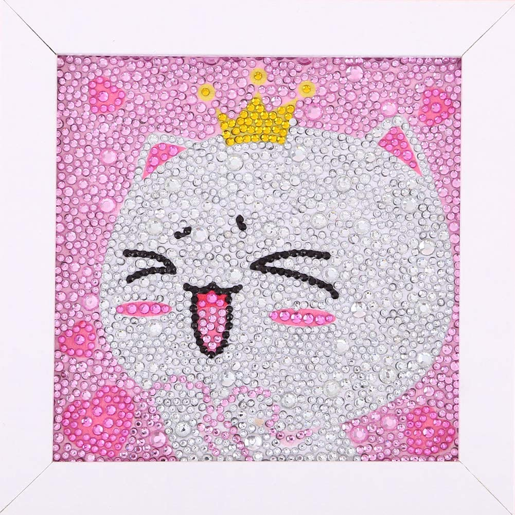 Kitten Maydear Small and Easy DIY 5d Diamond Painting Kits with Frame for Beginner with White Frame for Kids