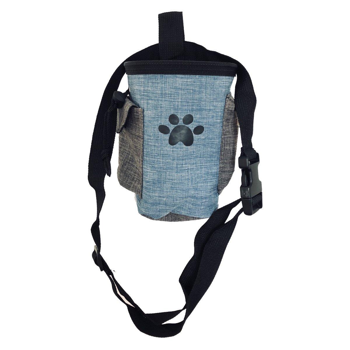 Pet Treat Pouch Dog Training Bag with Belt Carries Pet Toys Kibble Treats Sport Running Drawstring Waist Bag Poop Bag Dispenser (blue)