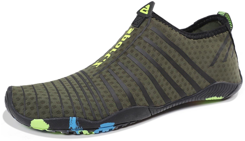 Heeta Water Sports Shoes for Women Men Quick Dry Aqua Socks Swim Barefoot Pool Beach Shoes for All Water Sport Green_B 6.5 US Women/5 US Men by Heeta